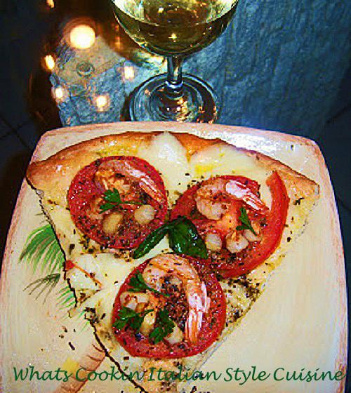 Italian Easter Dinner  Shrimp and Scallop Margarita Pizza