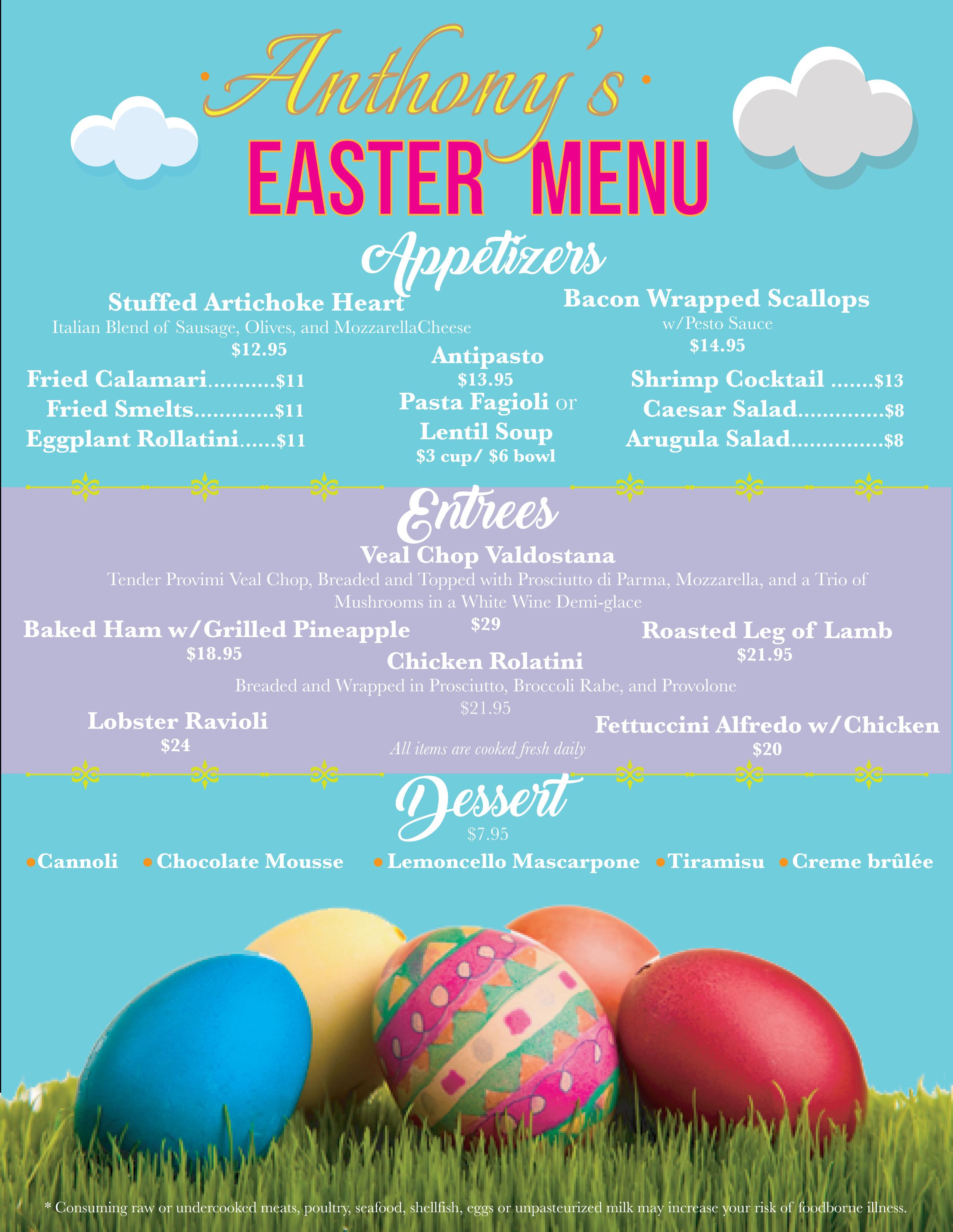 Italian Easter Dinner Menu  Easter Menu Anthony s Authentic Italian Cuisine