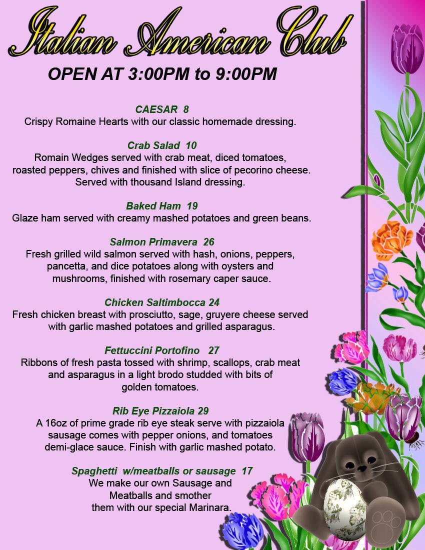 Italian Easter Dinner Menu  Italian Restaurants At Italian American Club Las Vegas and