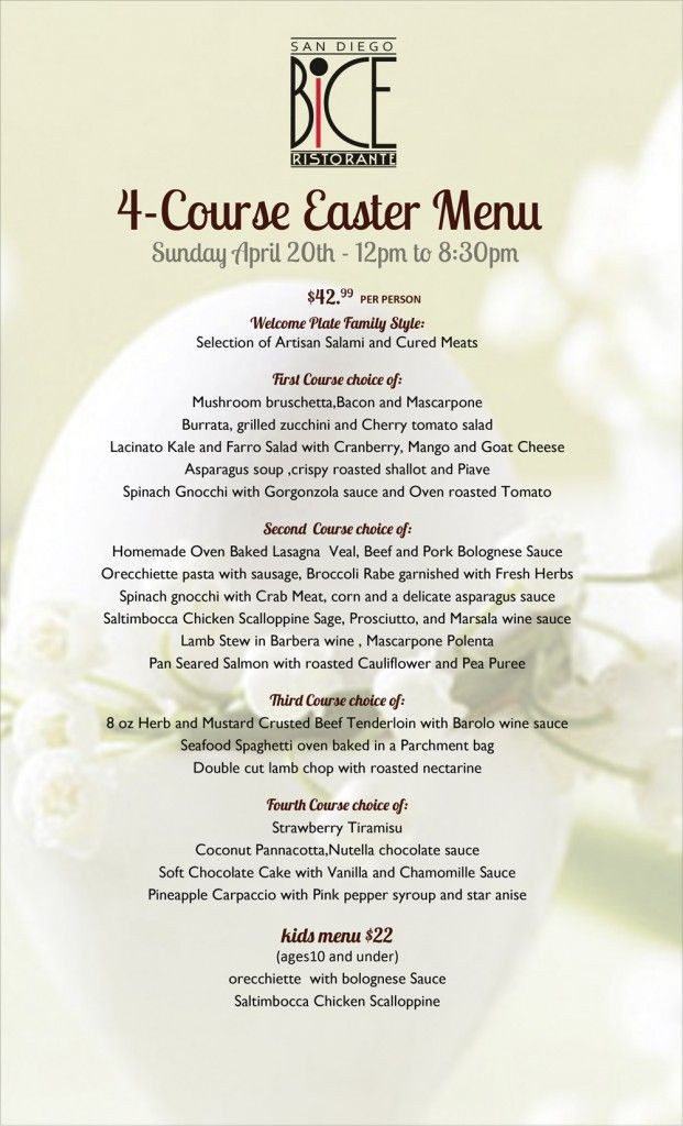 Italian Easter Dinner Menu  Win free BiCE desserts for a year Join us for our 4