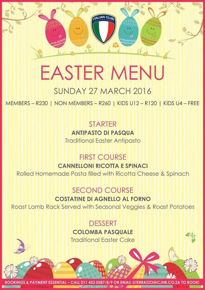 Italian Easter Dinner Menu  Italian Club JHB ItalianClubJHB