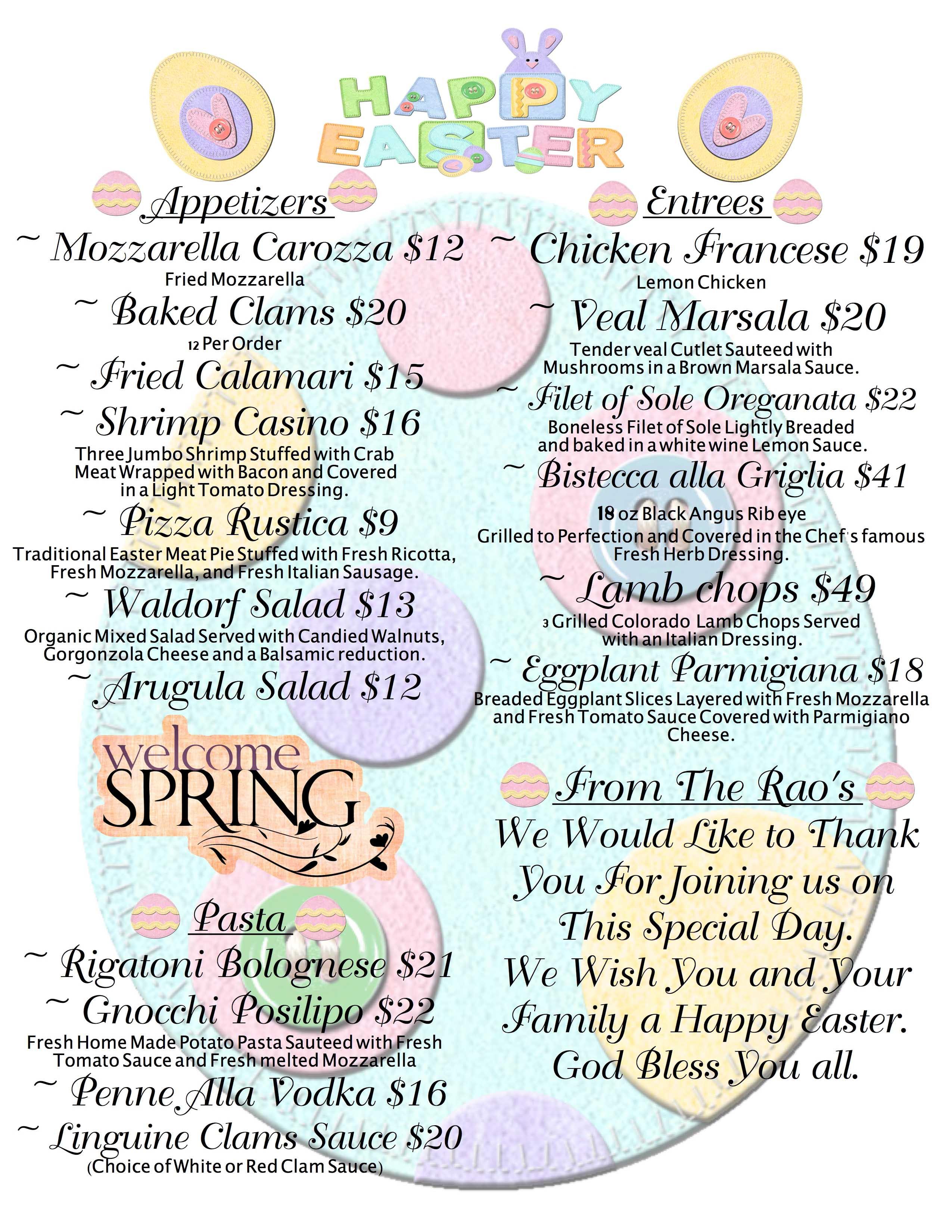 Italian Easter Dinner Menu  The Lorianna Mama Rao s Italian Restaurant