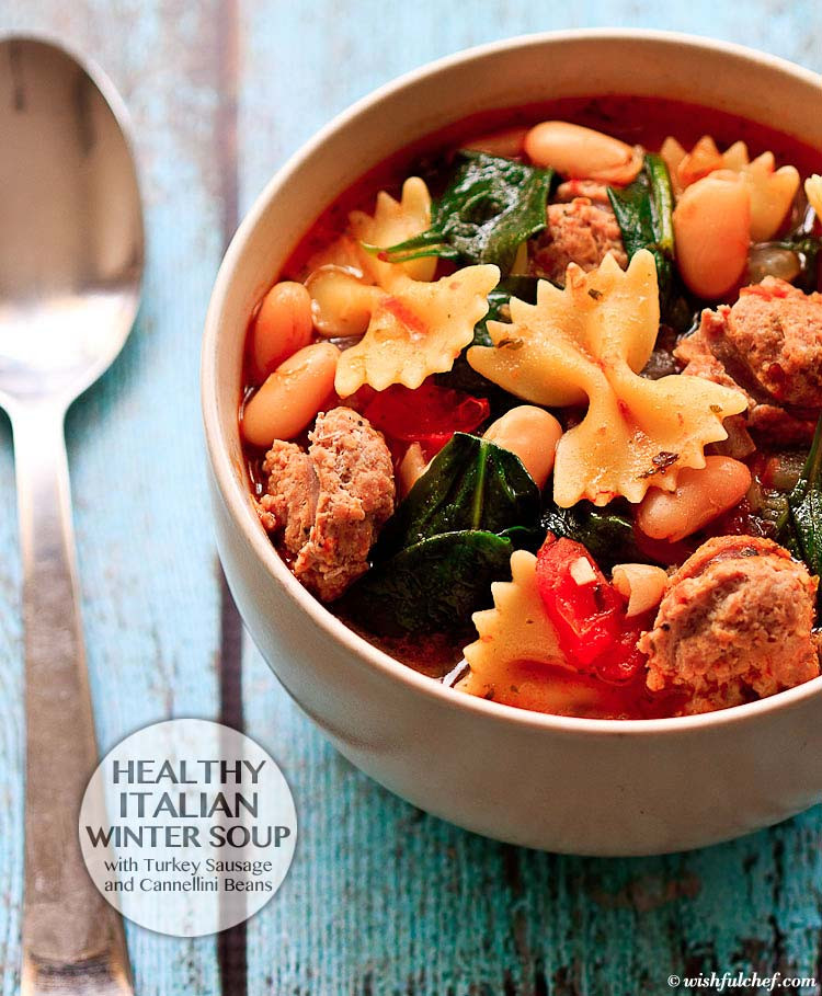 Italian Sausage Recipes Healthy  Healthy Italian Winter Soup with Turkey Sausage Wishful Chef