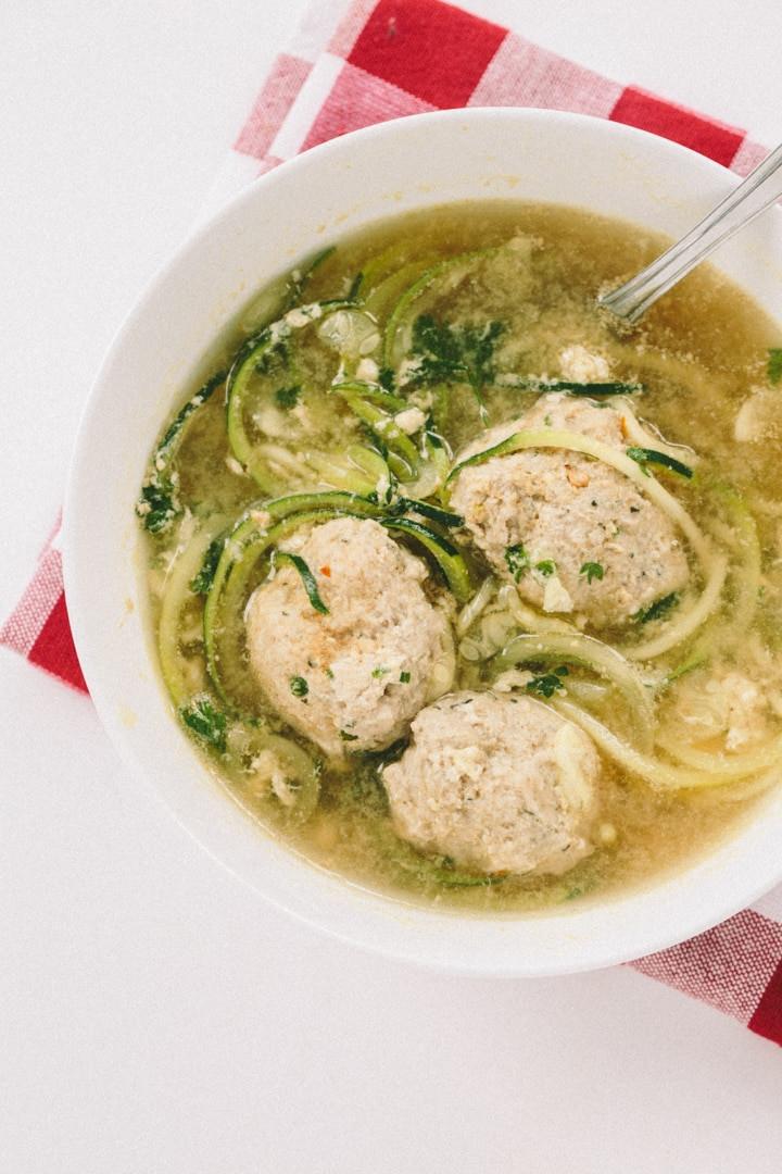 Italian Wedding Soup Noodles  Gluten Free Italian Wedding Soup with Zucchini Noodles