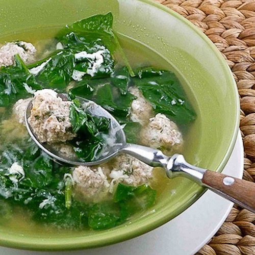 Italian Wedding Soup Recipes With Spinach  Italian Wedding Soup with Turkey & Sausage Meatballs