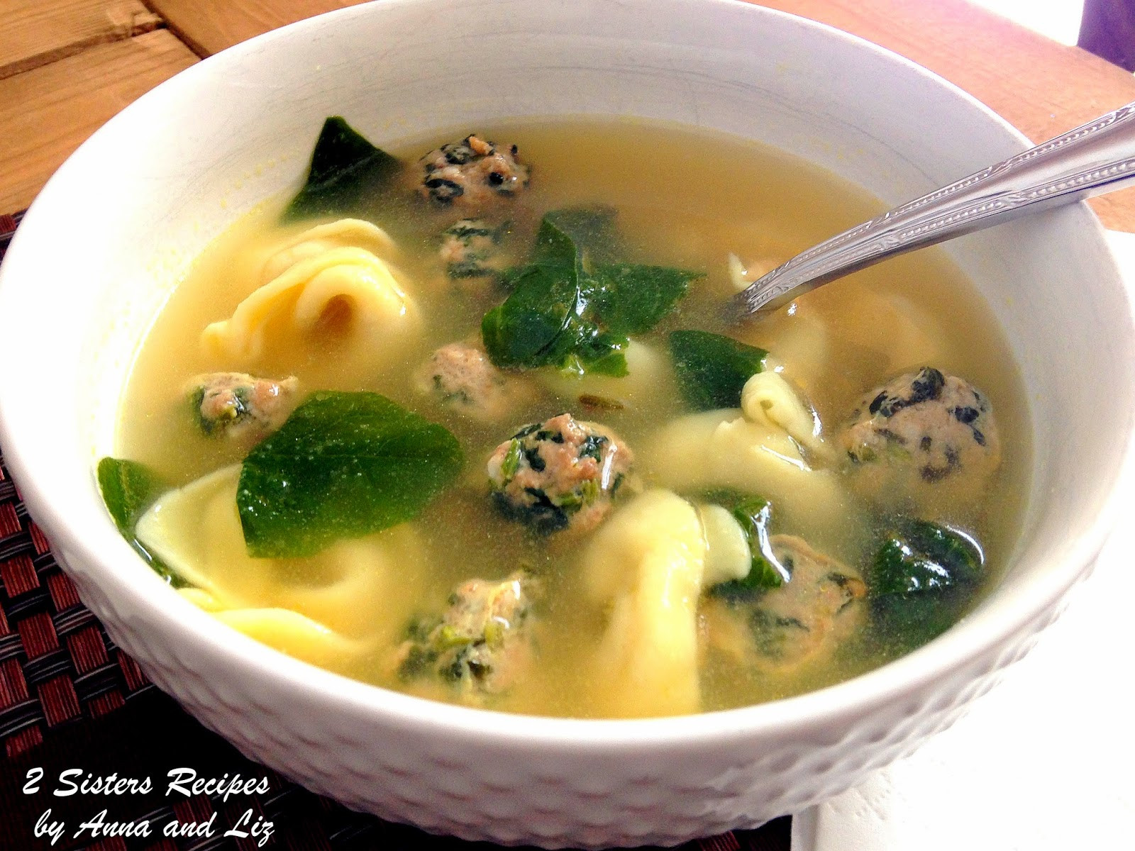 Italian Wedding Soup Recipes With Spinach  Italian Wedding Soup with Spinach Meatballs 2 Sisters