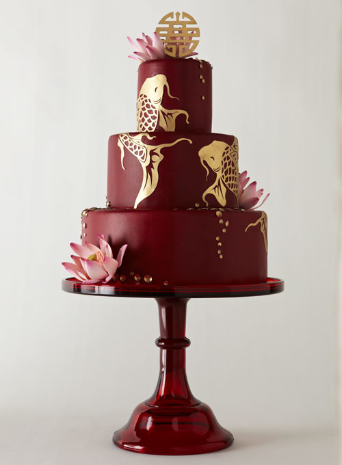 Japanese Wedding Cakes  Red Wedding Cake with Gold Koi Fish