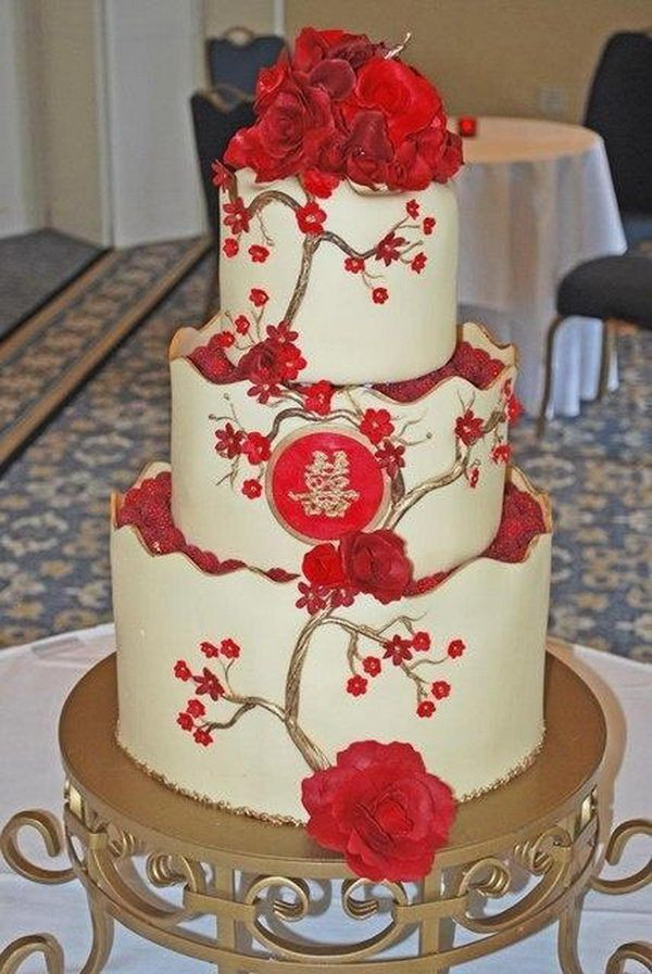 Japanese Wedding Cakes  Red Double Happiness Wedding Cake 17 Traditional Chinese