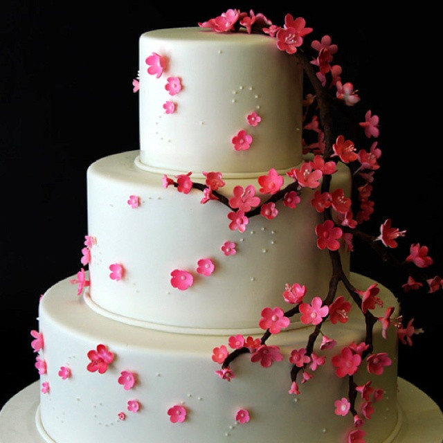 Japanese Wedding Cakes  Japanese Cherry Blossom Wedding Cake