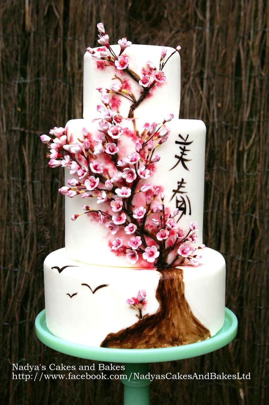 Japanese Wedding Cakes  Japanese Cherry Blossom Cake Spring 036 CakeCentral