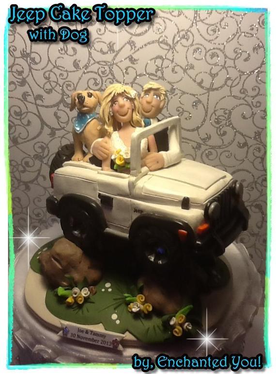 Jeep Wedding Cakes  Deluxe Jeep Wedding Cake Topper Personailzed Custom