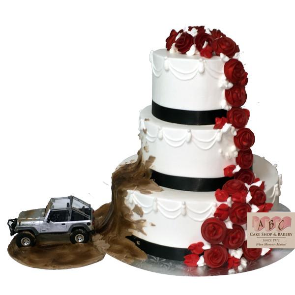 Jeep Wedding Cakes  2081 Jeep throwing mud on 3 Tier Wedding Cake ABC Cake