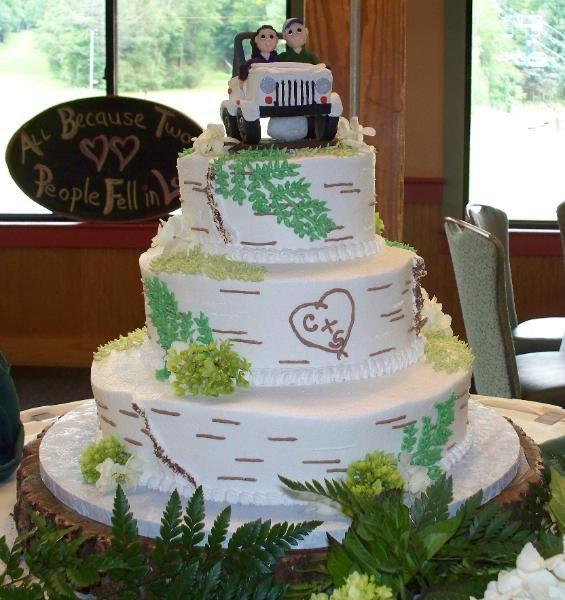 Jeep Wedding Cakes  Birch bark wedding cake with Jeep topper