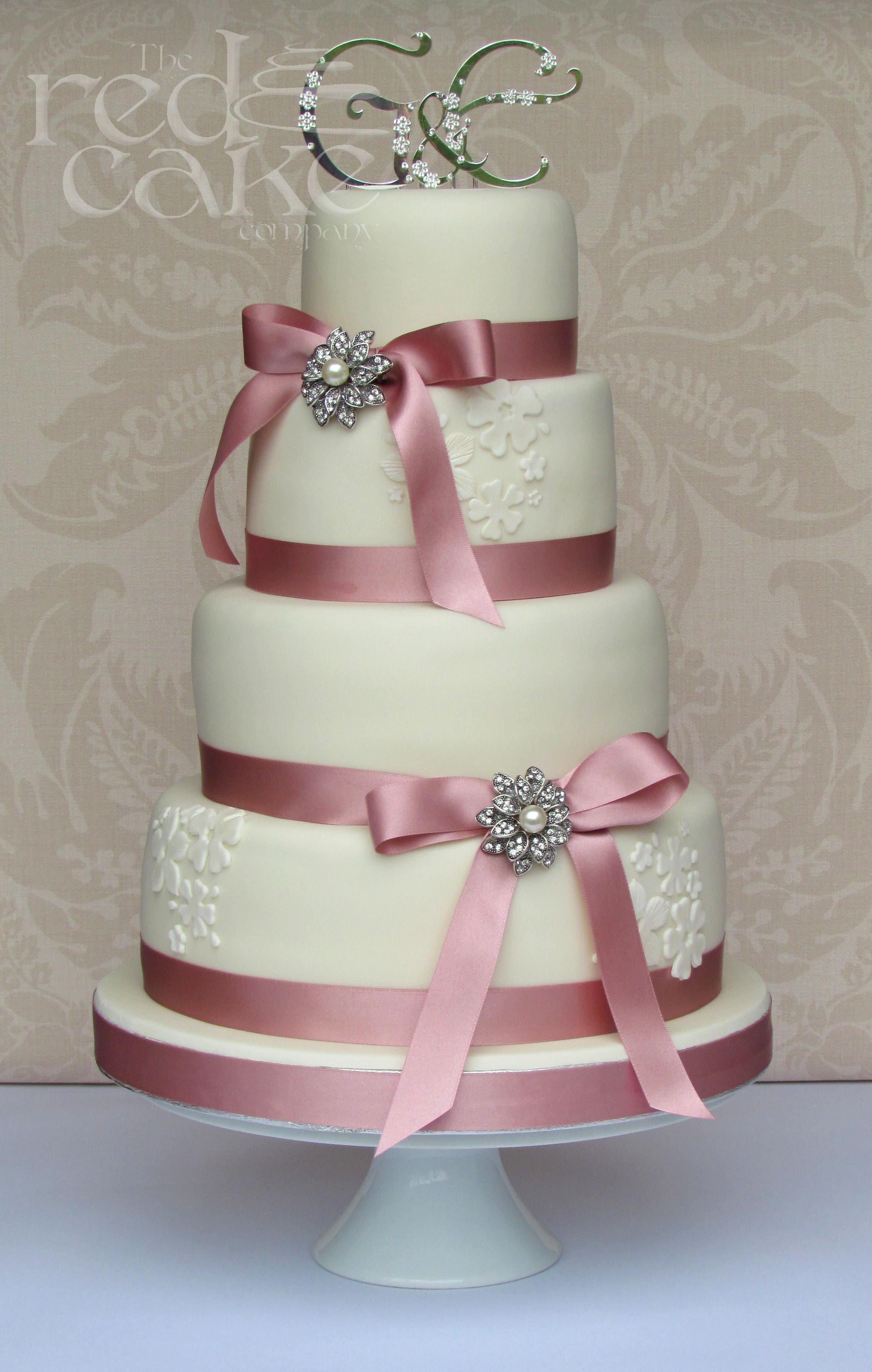 Jewel Wedding Cakes  Pink & Ivory Jewel Wedding Cake