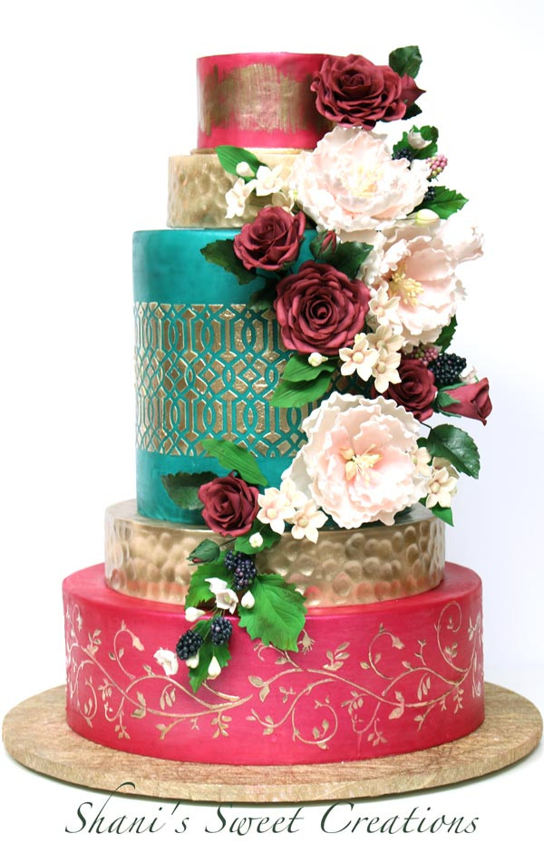 Jewel Wedding Cakes  Vibrant jewel tone wedding cake sugar flowers Shani s