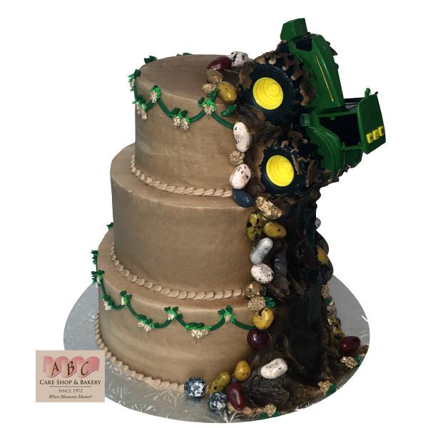 John Deere Wedding Cakes  1601 3 Tier John Deere Tractor Wedding Cake