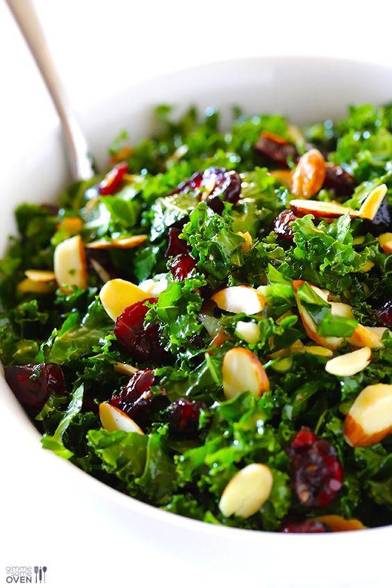 Kale Recipes Easy Healthy  Kale Salad with Warm Cranberry Almond Vinaigrette