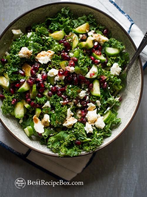 Kale Recipes Easy Healthy  Healthy Kale Salad recipe w Pomegranate Seeds