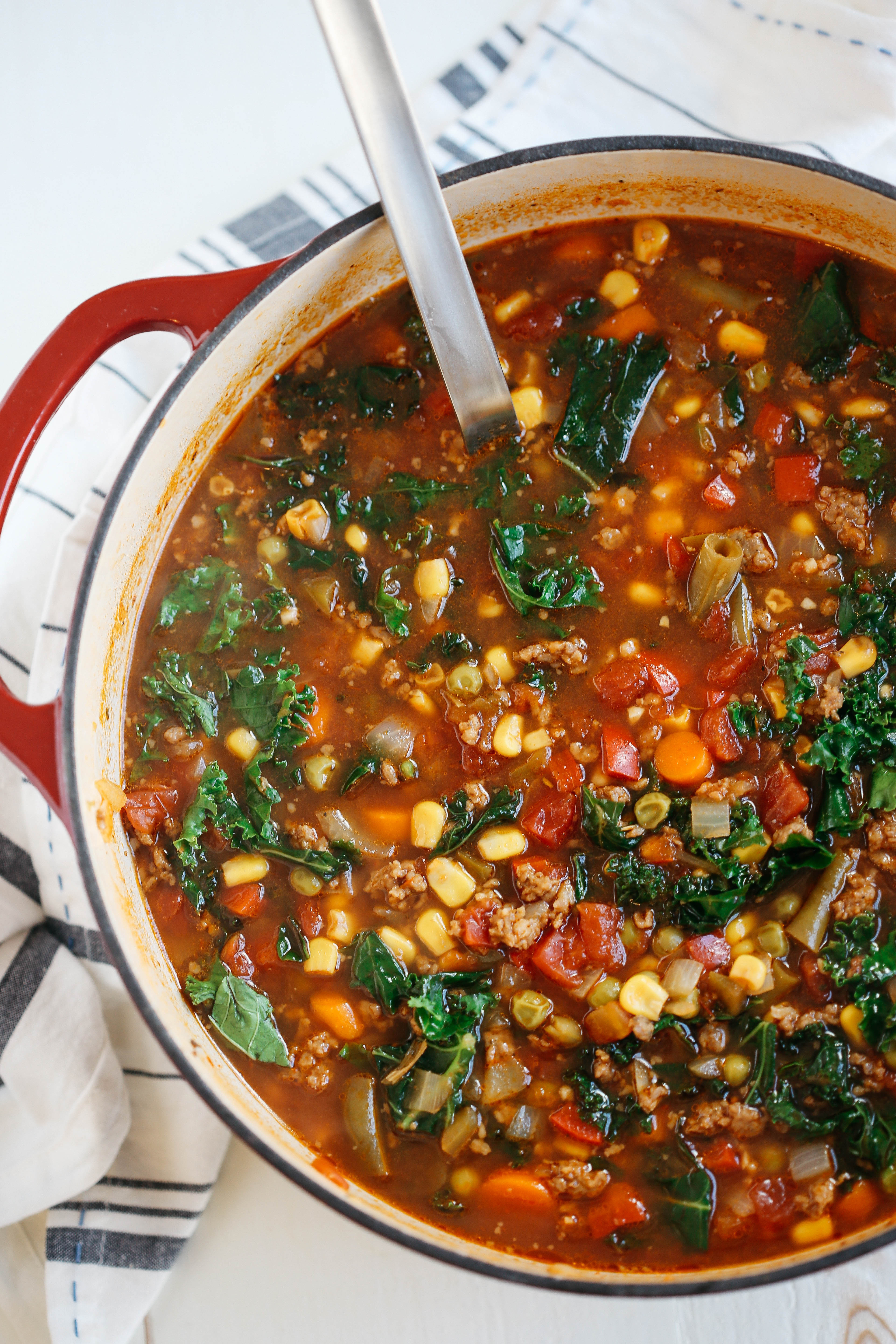 Kale Soup Recipes Healthy  e Pot Spicy Sausage and Kale Soup Eat Yourself Skinny
