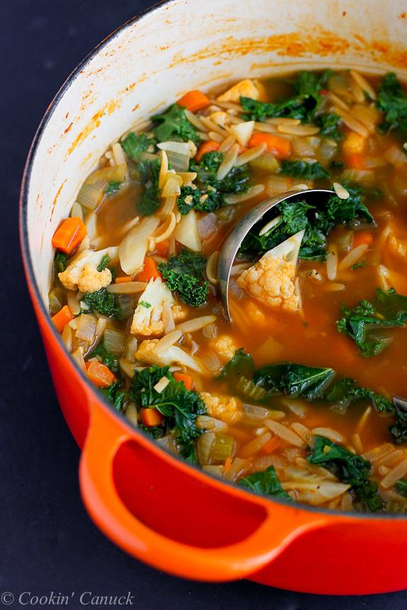 Kale Soup Recipes Healthy  Whole Wheat Orzo Cauliflower & Kale Soup Vegan