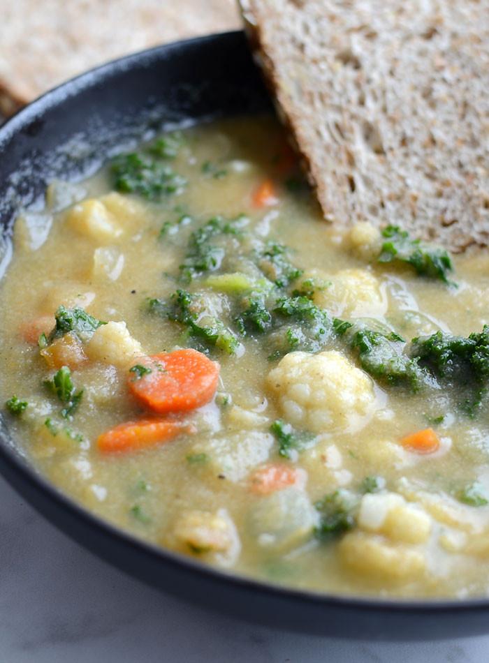 Kale Soup Recipes Healthy  Kale and Cauliflower Soup Healthy Vegan Low Calorie