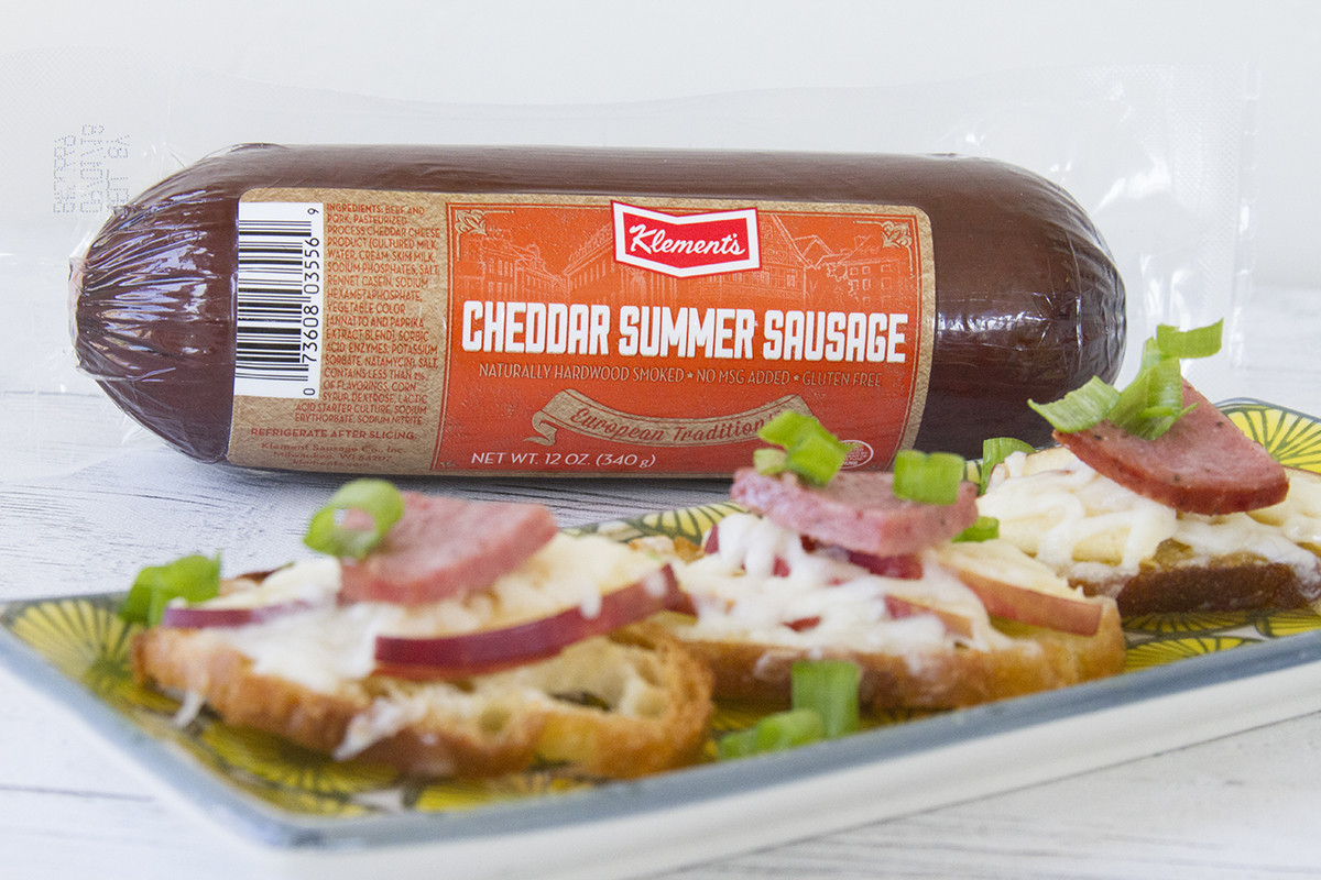 Klements Beef Summer Sausage  Toasted Apple and Fennel Crostini with Klement's Summer