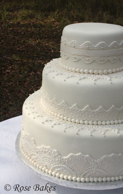 Lace Wedding Cakes  Elegant Lace Wedding Cake