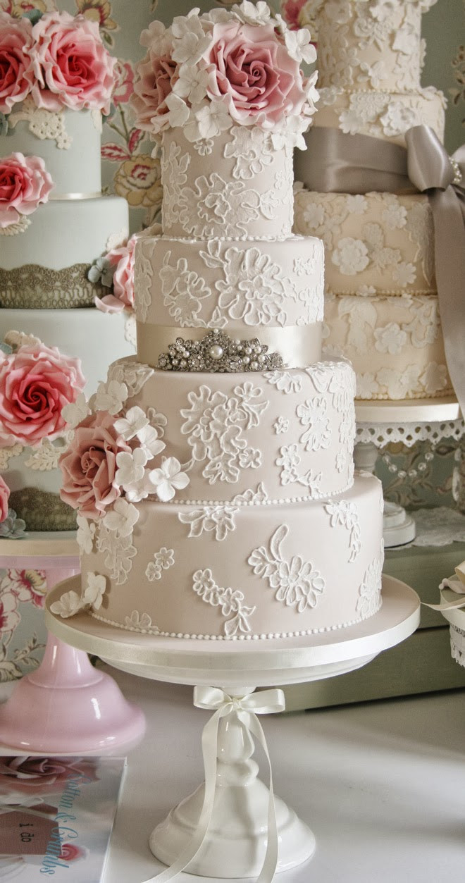 Lace Wedding Cakes  Gorgeous Lace Wedding Cakes Belle The Magazine