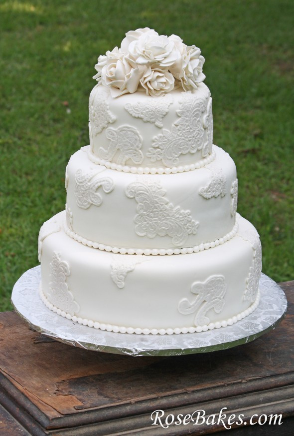 Lace Wedding Cakes  Vintage Lace Wedding Cake with Sugar Roses