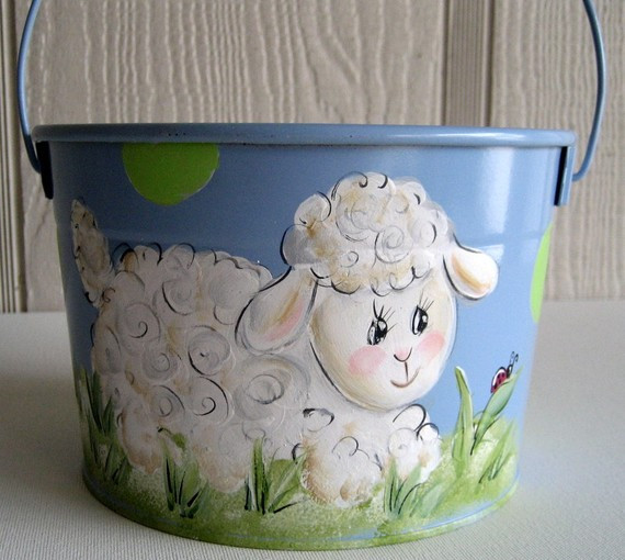 Lamb Easter Basket  Personalized Hand Painted Girl Bunny Easter Basket Ideas