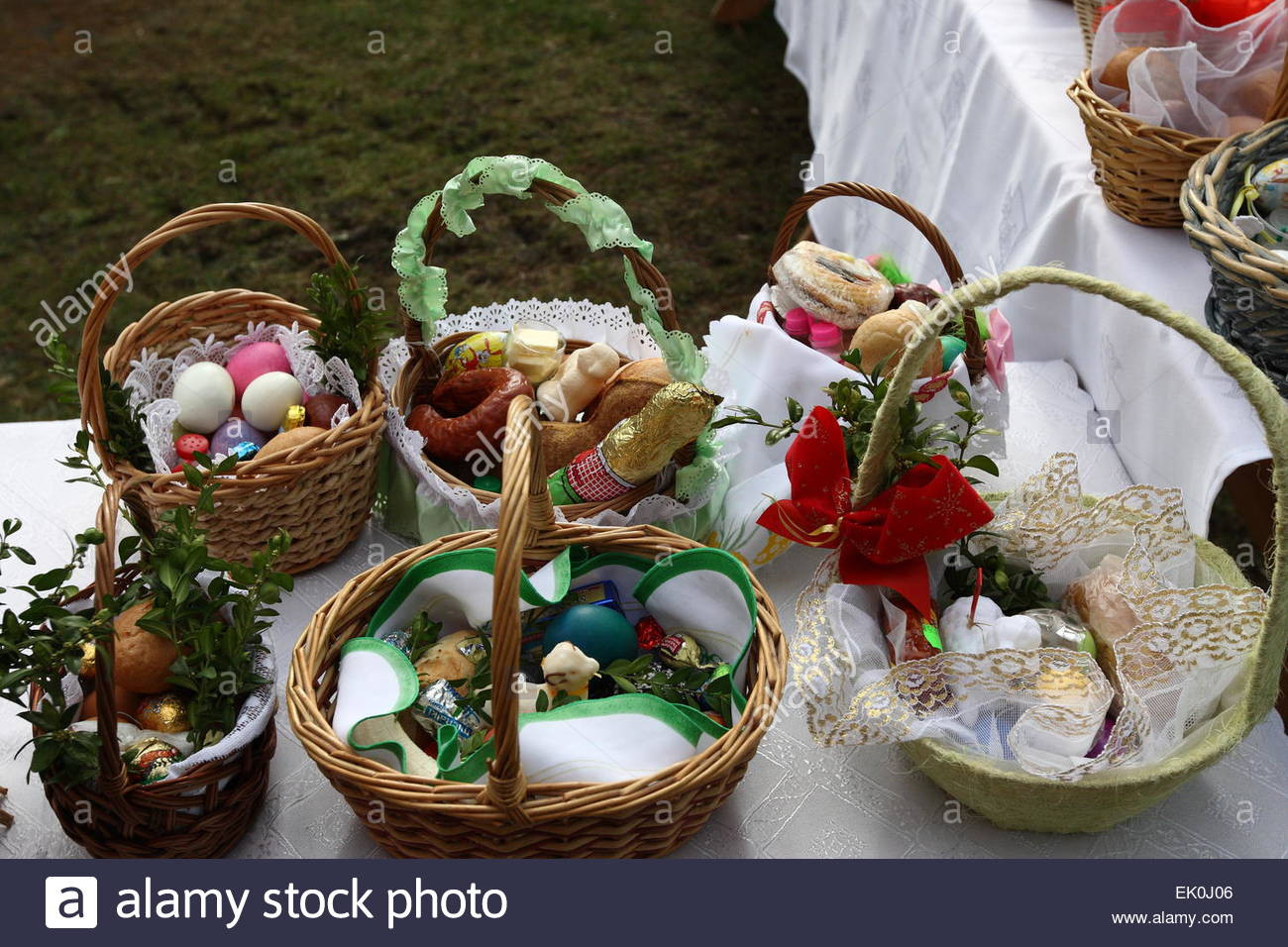 Lamb Easter Basket  Sobowidz Poland 4th April 2015 Swieconka the tradition