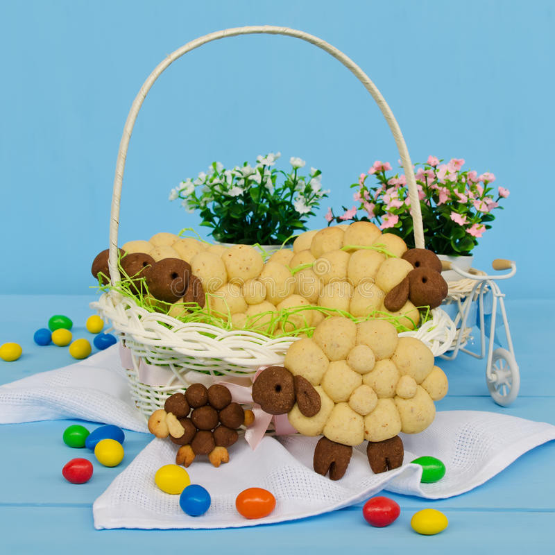 Lamb Easter Basket  Holiday Almond Biscuits Lamb In A Basket Square Stock