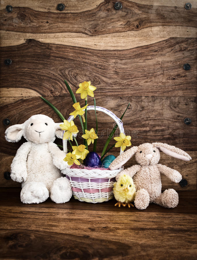 Lamb Easter Basket  Bunny Lamb And Chick With Easter Basket Rustic Stock