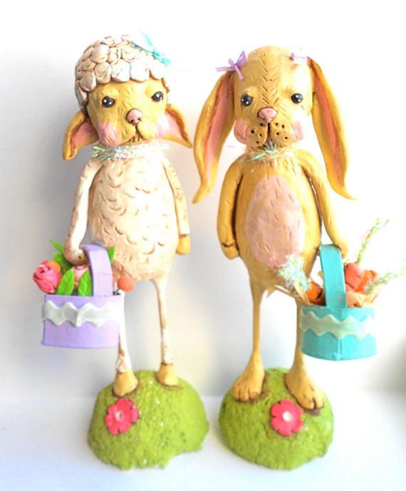 Lamb Easter Basket  Spring Easter Lamb with Basket in Vanilla Pink Orange and