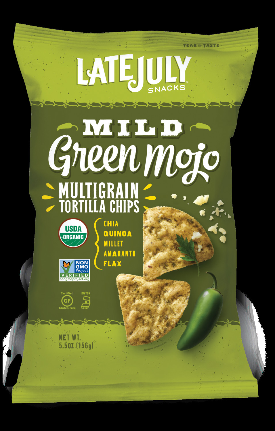 Late July Crackers  Late July Snacks Mild Green Mojo Multigrain Tortilla
