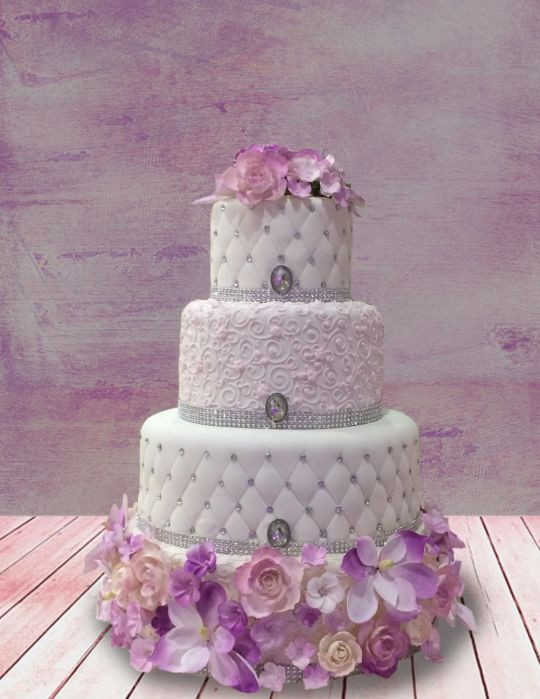 Lavender And White Wedding Cake  Lavender and white wedding cake cake by MsTreatz