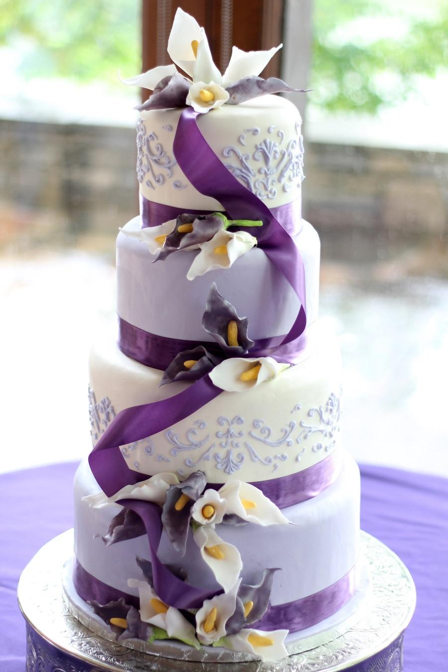 Lavender And White Wedding Cake  Lavender And White Sugar Calla Lily Wedding Cake