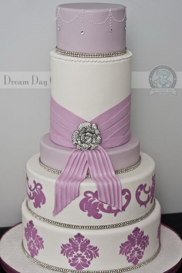 Lavender And White Wedding Cake  Purple Wedding Cakes
