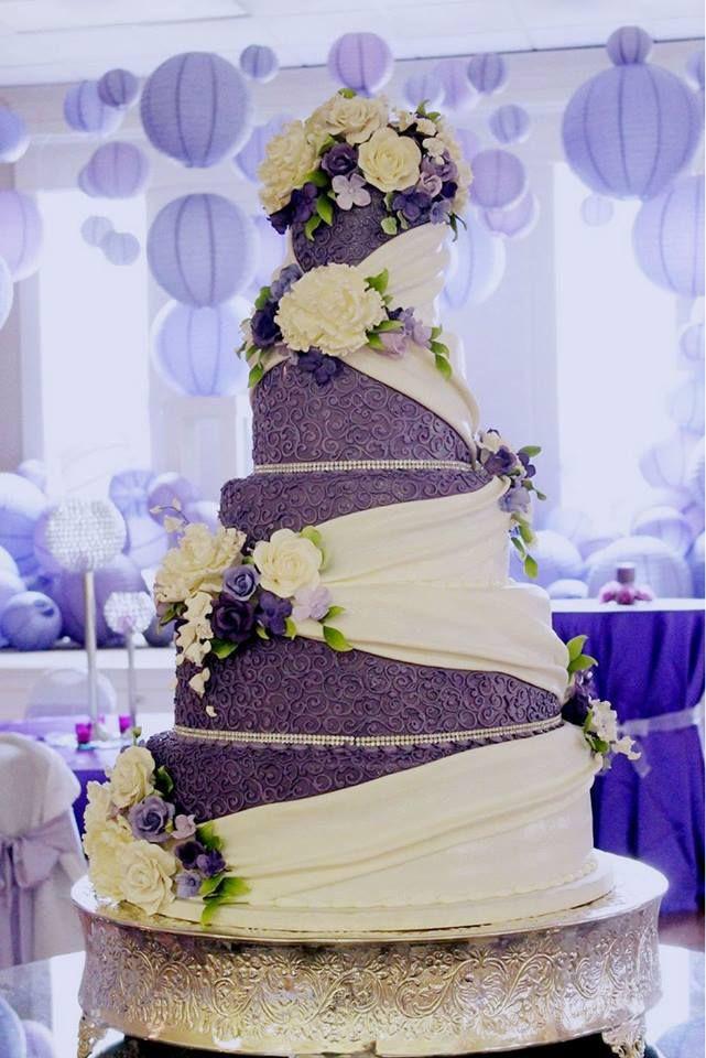Lavender And White Wedding Cake  purple wedding cake