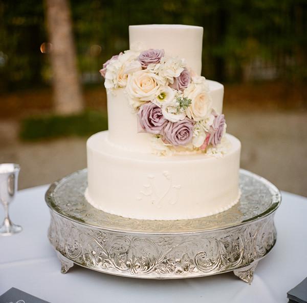 Lavender And White Wedding Cake  Cream and Lavender Wedding Cake Elizabeth Anne Designs