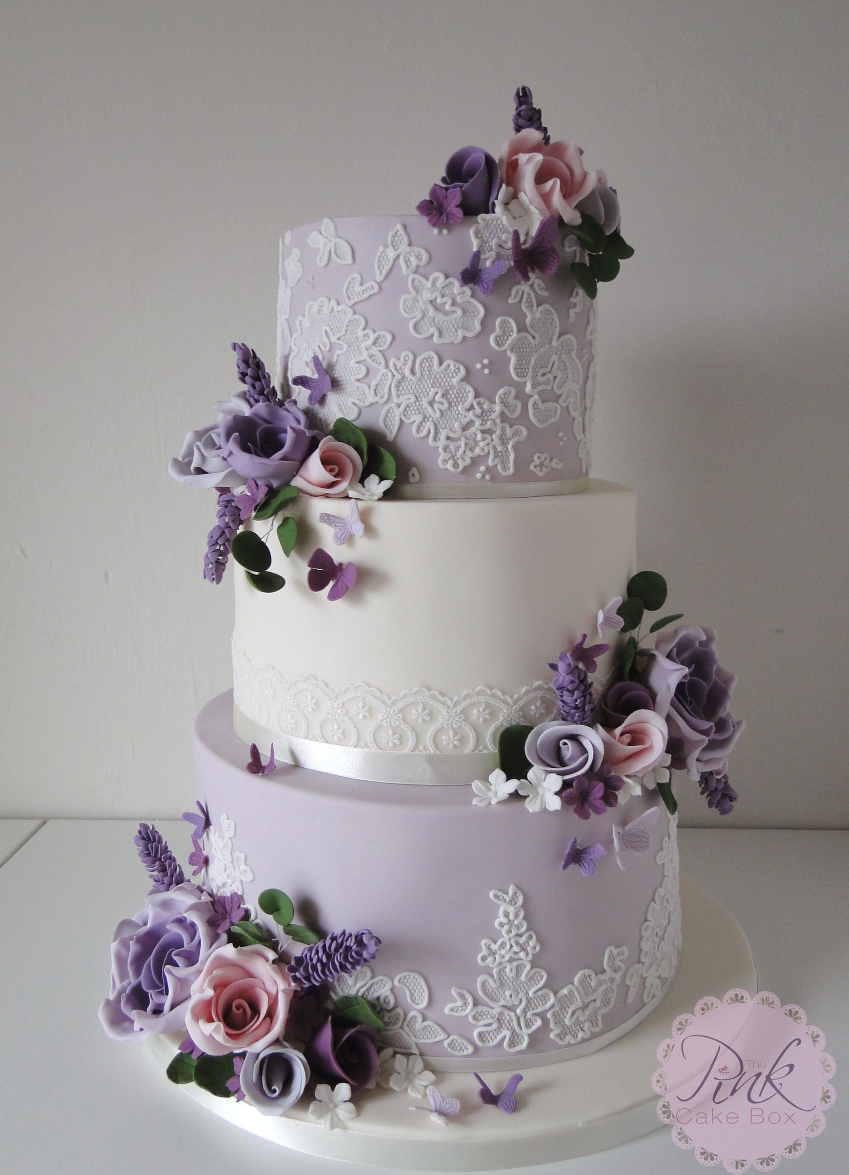 Lavender Wedding Cakes  Lavender Lace and Flowers Wedding Cake