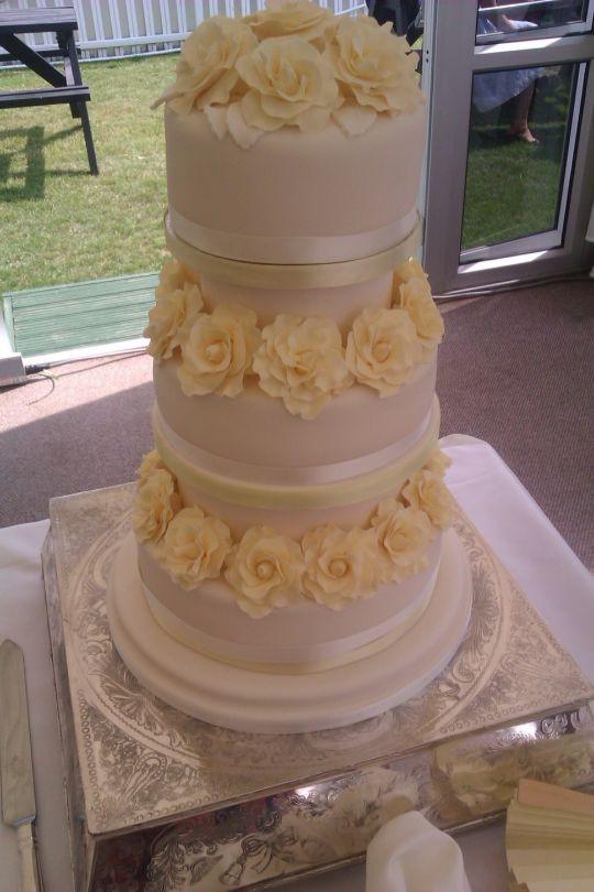 Lemon Wedding Cakes  Lemon roses 3 tier wedding cake Cake by Looby69 CakesDecor
