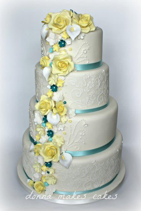 Lemon Wedding Cakes  Lemon and Teal Wedding cake Cake by Donna Marsden