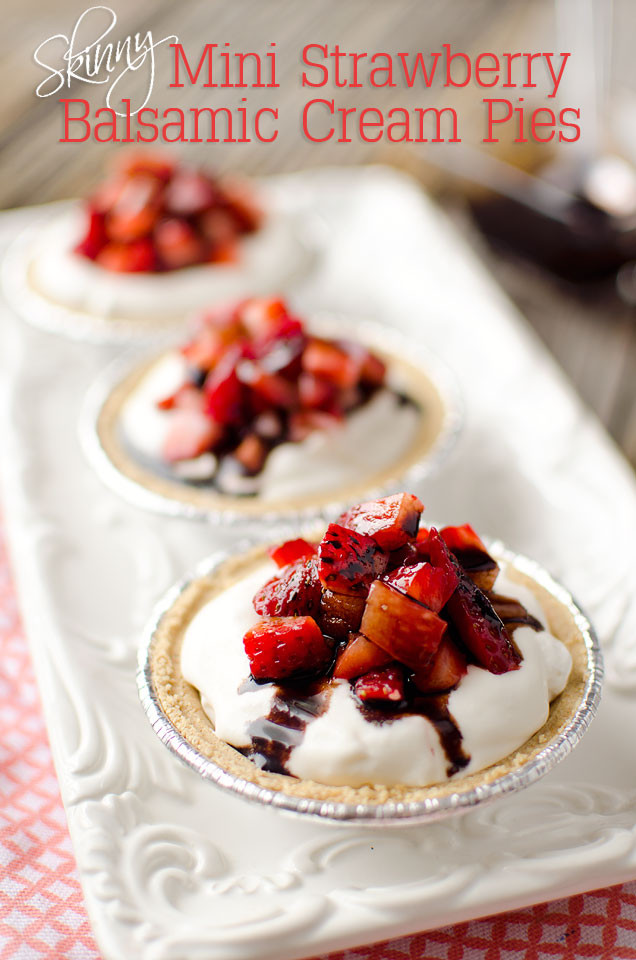 Light Desserts Recipes Healthy  Skinny Mini Strawberry Balsamic Cream Pies