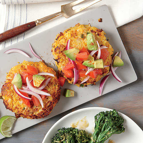Light Healthy Dinner  Sweet Potato and Chickpea Cakes with Avocado Salsa