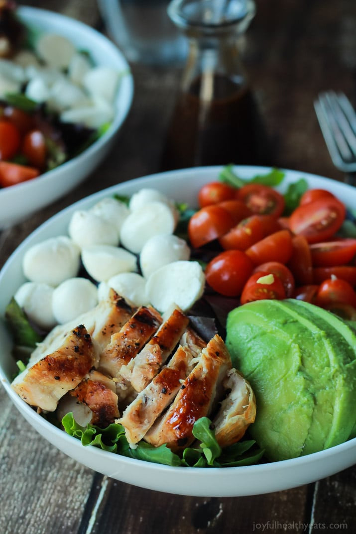 Light Healthy Dinners  15 Minute Avocado Caprese Chicken Salad with Balsamic