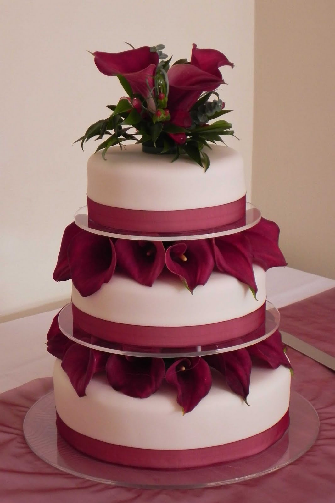 Lilly Wedding Cakes  Cake by Lisa Price Burgundy calla lily wedding cake