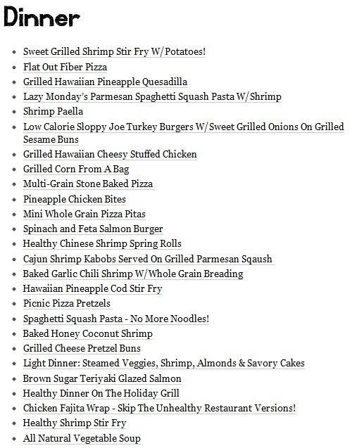 List Of Healthy Dinners  Healthy Dinner Menu For Eating & Drinking