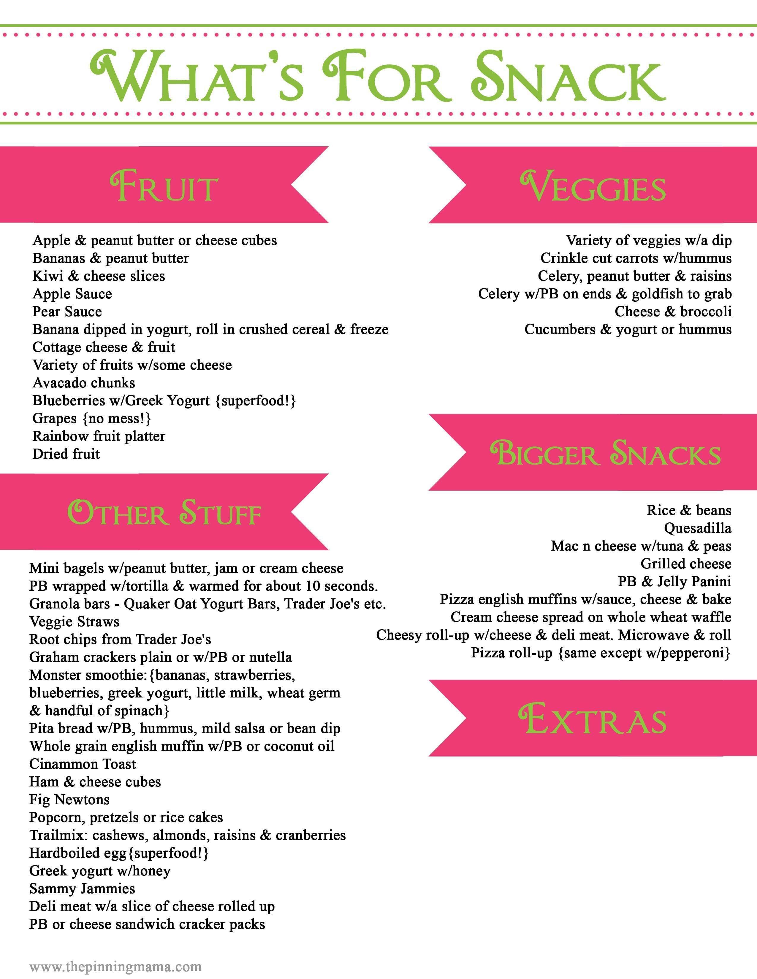 List Of Healthy Snacks  Easy Healthy Toddler Snacks with a Printable