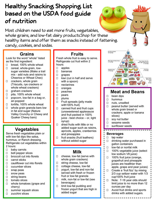 List Of Healthy Snacks  Healthy Snack Grocery List